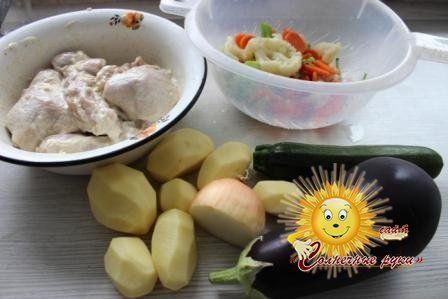Овочі в духовці з куркою